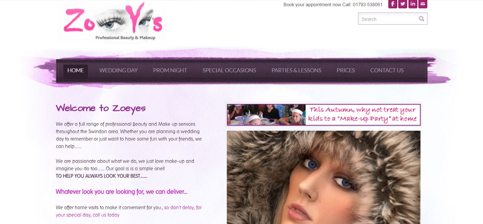 sWindon based make up and hair company use imagepotion to develop and promote their business and website